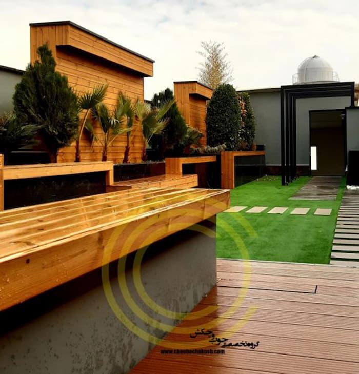 روف گاردن زیبا و جذاب طراحی و اجرا شده توسط شرکت چوب و چکش