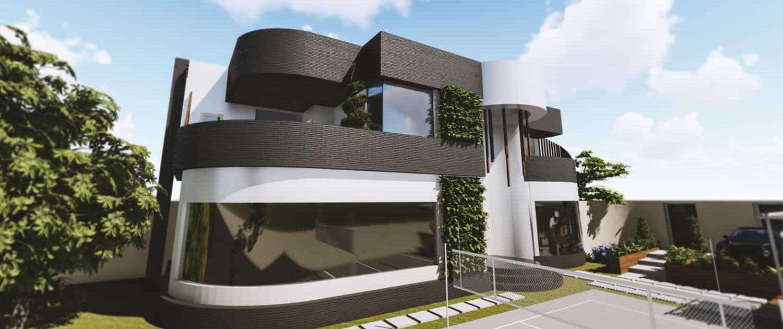 طراحی نمای ساختمان به صورت سه بعدی و مدل سازی شده توسط شرکت چوب و چکش