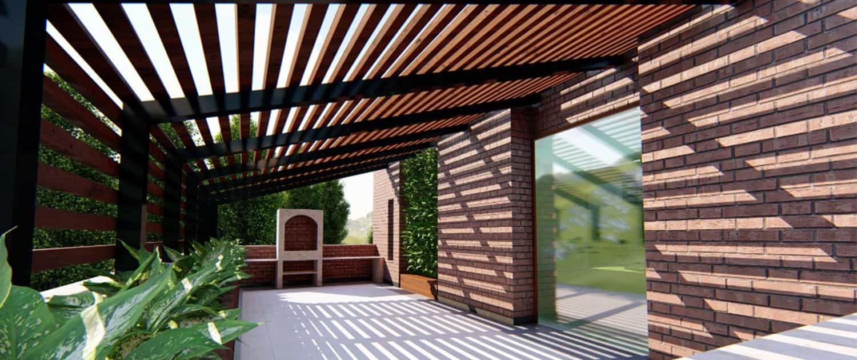 نمایی از الاچیق یا پرگولا بسیار زیبا که توسط گروه تخصصی چوب و چکش بر روی روف گاردن طراحی و اجرا شده است