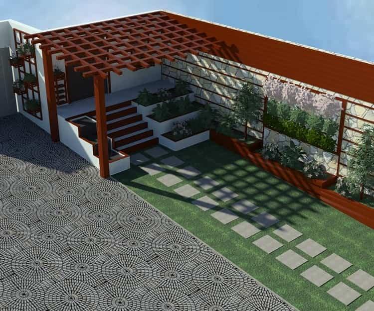 پلان سه بعدی طراحی محوطه ویلا شرکت چوب و چکش